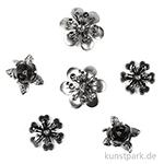 Metallcharms Vintage - Blume, 6 Stück sortiert