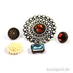 Metallcharms Vintage - Brillanten, 5 Stück sortiert