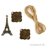Metallcharms Vintage - Eifelturm, 3 Stück sortiert