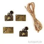 Metallcharms Vintage - Kamera, 4 Stück sortiert