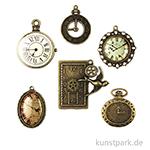 Metallcharms Vintage - Uhr, 6 Stück sortiert
