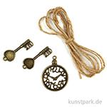 Metallcharms Vintage - Uhr und Schlüssel, 3 Stück sortiert