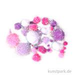 Metallic-Pompons, 50 Stück sortiert - Pink-Weiß