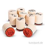 Mini Holzstempel-Set - Celebrate, 2 cm, 10 Stück sortiert