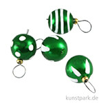 Mini Weihnachtskugeln Grün, 4 Stück, 8 mm