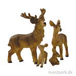 Miniatur Hirschfamilie, 6,5 cm, 4 Stück sortiert