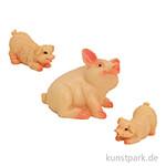 Miniatur Schwein mit Ferkel, 2,5 cm, 3 Stück sortiert