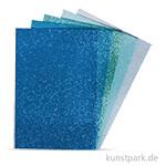 Moosgummi Platten Glitter - Blau-Grün, selbstklebend, 5 Stück