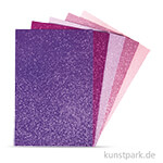 Moosgummi Platten Glitter - Pink-Violett, selbstklebend, 5 Stück