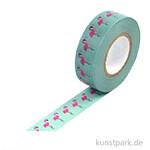 Motiv-Klebeband Washi Tape - Flamingos, 15 mm, Rolle 15m