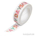 Motiv-Klebeband Washi-Tape - Happy Days, 15 mm, 10 m Rolle