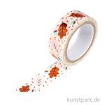 Motiv-Klebeband Washi-Tape Hotfoil Kupfer Blätter, 15 mm, 5 m Rolle