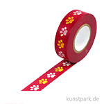 Motiv-Klebeband Washi Tape - Pfoten bunt, 15 mm, Rolle 15m