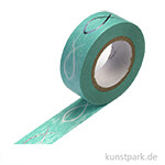 Motiv-Klebeband Washitape - Fisch türkis, 15 mm, 10 m Rolle