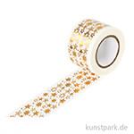 Motiv-Klebeband Washitape - Sterne gold, 30 mm, 10 m Rolle