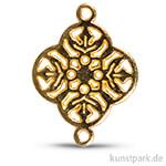 Metall-Zierlement mit Ösen – Ornament Blume, 15 mm, 1 Stück