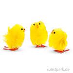 Oster-Küken aus gelbem Chenille, Höhe 30 mm, 12 Stück