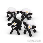 Osterlämmer - Weiß-Schwarz, 4 Stück