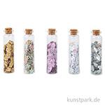 Pailletten - Herzen und Blumen in Fläschchen, 5 Stück sortiert