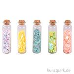 Pailletten - Schmetterlinge und Blumen in Fläschchen, 5 Stück