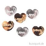 Pailletten-Streuteile - Herz Love - Gold-Silber, 1,9 cm, 15 g