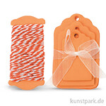 Papier-Etiketten und Band, 15 Stk - Orange