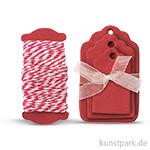 Papier-Etiketten und Band, 15 Stk - Rot