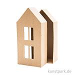 Pappmache Schachtel - großes Haus mit Fenster