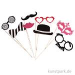 Party Masken mit Holzstab - Pink-Schwarz, 8 Stück sortiert