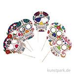Party Masken mit Holzstab - Totenköpfe, 6 Stück sortiert
