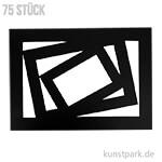 Passepartout-Rahmen - Schwarz, 0,4 mm, 270 g, 75 Stück sortiert