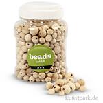 Perlen aus Holz, 8-15 mm, Lochgröße 2-3 mm, 400 ml