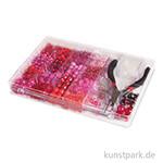 Perlen-Box mit Zange, 180 g - Pink-Rot