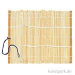 Pinselmatte aus Bambus natur mit Gummiband, ca. 28 x 28 cm
