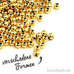 Plastik Rundperlen - Gold