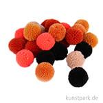 Pompon Set aus Garn - Orange-Schwarz Töne