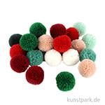 Pompon Set aus Garn - Rot-Grün Töne