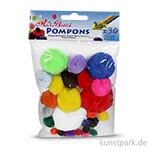Pompons, 30 Stück - farbig sortiert