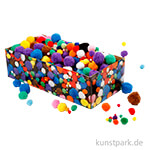 Pompons-Mix Bunt, Größe 5-40 mm, 720 Stück sortiert