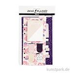 Post-its und Lesezeichen für Kreativbücher - Blumendesign Lila-Gold-Rosa