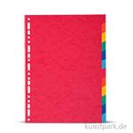 Register aus Karton, DIN A4, 220g, 12 Stück farbig sortiert