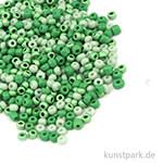 Rocailles Perlmutt Grün Mix - 2,6 mm, 17g Dose
