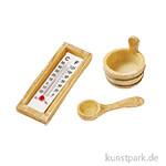 Sauna-Zubehör in Holzoptik, 3 - 6 cm, 3-teilig
