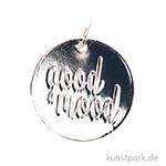 Schmuck-Anhänger Scheibe - Good Mood, Silber