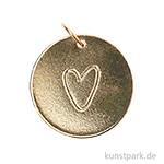 Schmuck-Anhänger Scheibe - Herz, Gold