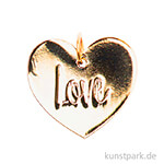Schmuck-Anhänger Scheibe - Love, Gold