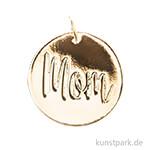 Schmuck-Anhänger Scheibe - Mom, Gold