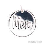 Schmuck-Anhänger Scheibe - Mom, Silber