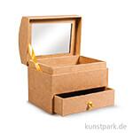 Schmuckkästchen aus Pappmaché mit Spiegel, 10,3x7,7x9,2 cm