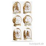 Schüttel-Sticker - Engel-Baum,  49x32 - 45x36 mm, 6 Stück - Gold